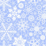 White and blue lace crochet snowflakes seamless pattern, vector Stock Photo