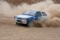 White and blue Lada on rally Royalty Free Stock Images