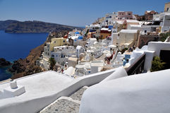 White and blue landscape of island Santorini Stock Image