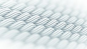Wavy surface of white curles ornament abstract 3D rendering Stock Images