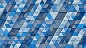 White and blue linear extruded triangles 3D render. White and blue linear extruded triangles. Abstract geometric background. 3D render illustration Stock Photography