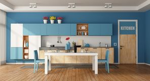 White and blue modern kitchen Royalty Free Stock Image