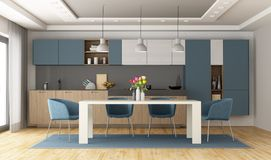 White and blue modern kitchen royalty free stock images