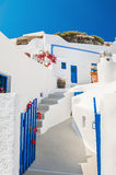 White-blue national architecture on Santorini island, Greece. Old street in Fira town. White-blue national architecture on Santorini island, Greece Stock Images