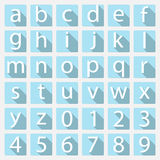 White on blue number and lower case alphabet icon with long shadow Stock Photography