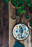 White Blue Orange and Green Bird Print Plate Decor Royalty Free Stock Photo
