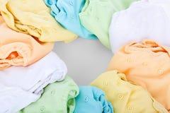 White Blue Orange and Yellow Drawstring Bag Stock Images
