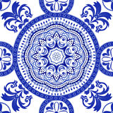 White and blue ornamental pattern. Indian decorative wallpaper. Indian style Stock Photo