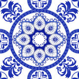 White and blue ornamental pattern. Indian decorative wallpaper. Indian style Royalty Free Stock Images