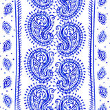 White and blue ornamental pattern. Indian decorative wallpaper. Indian style Stock Photos
