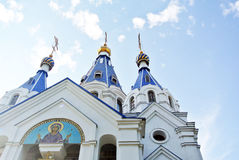 White and blue Orthodox Church Stock Image