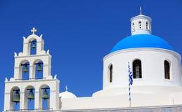 White blue orthodox church of Panagia Platsani, in the village of Oia. Santorini Royalty Free Stock Photos