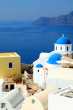 White and blue orthodox church in the village of Oia, Santorini Royalty Free Stock Photos