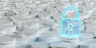 White and blue padlock icon on hexagons background 3D rendering. White and blue abstract padlock icon on hexagons background 3D rendering royalty free illustration