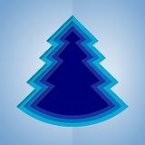 White and blue paper christmas tree Stock Photo