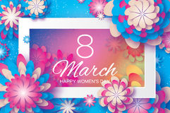 White Blue Paper Cut Flower. 8 March. Origami Women`s Day. Rectangle Frame. Space for text Stock Images