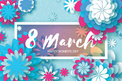 White Blue Paper Cut Flower. 8 March. Origami Women`s Day. Rectangle Frame. Space for text Stock Photography