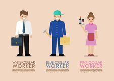 White Blue and Pink collar workers infographic. Occupational classifications Flat style concept Vector illustration royalty free illustration