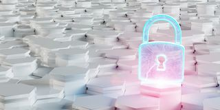 White blue and pink padlock icon on hexagons background 3D rende. White blue and pink abstract padlock icon on hexagons background 3D rendering royalty free illustration