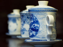 White and blue porcelain teapots. Three Chinese teapots based on the traditional white and blue porcelain Stock Images