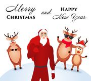 White poster Happy Christmas with a picture of a fashionable, modern and young Santa Claus and his merry reindeer in the backgroun. White-blue poster Happy Royalty Free Stock Photos