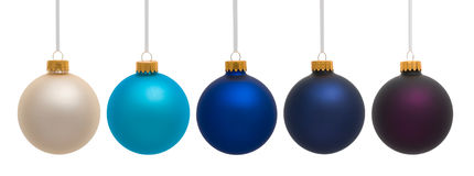 White Blue and Pueple Chirstmas Ornaments Royalty Free Stock Images