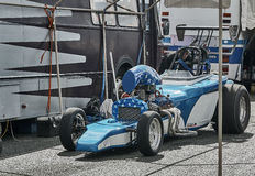 White blue race car front view Royalty Free Stock Image