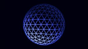 White and blue rotating sphere animation on black background, seamless loop. Spinning transparent ball formed by neon royalty free illustration