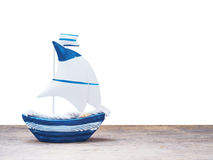White and blue sailboat toy Royalty Free Stock Photography