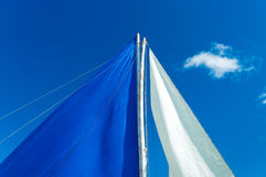 White and blue sails Stock Photos