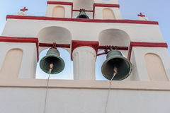 White-blue Santorini church bell Royalty Free Stock Images
