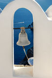 White-blue Santorini church bell Royalty Free Stock Photography