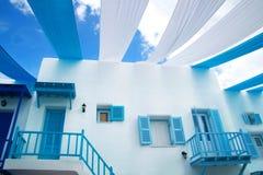 White-blue Santorini. White and blue Santorini with blue sky Royalty Free Stock Photos