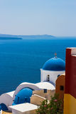 White-blue Santorini - view of caldera with domes Stock Image