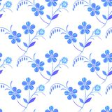 White-blue seamless floral pattern. Vector. stock illustration