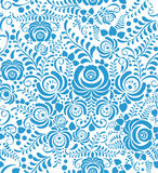White and blue seamless pattern in Russian style Royalty Free Stock Image