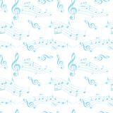 White and blue seamless pattern with wavy music notes - vector Royalty Free Stock Photography