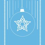 Snowflake in a christmas ball. White and blue shapes with festive ornament. Clean design for Christmas prints Royalty Free Stock Images