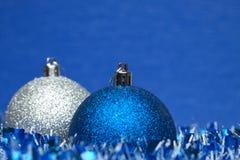 White and blue shiny christmas balls Royalty Free Stock Image