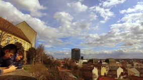 Clouds over Zagreb city. White on the blue sky over Cratian capital Zagreb city