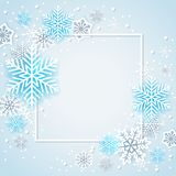 White and blue snowflakes in frame. Holiday background with white and blue snowflakes in frame. Abstract Christmas banner Stock Image