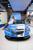 White and blue sport car Chevrolet Cruze. MOSCOW, RUSSIA - AUGUST 25:  White and blue sport car Chevrolet Cruze at Moscow International exhibition InterAuto on Royalty Free Stock Photos