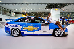 White and blue sport car Chevrolet Cruze. MOSCOW, RUSSIA - AUGUST 25:  White and blue sport car Chevrolet Cruze  on display at Moscow International exhibition Stock Photography