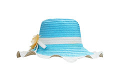 White and blue straw weave hat. For lady isolated on white background Stock Photo