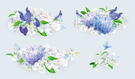 White and blue summer flowers bouquet set Stock Image