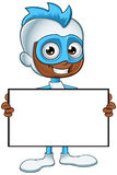 White And Blue Superhero - Holding A Blank Board Royalty Free Stock Images