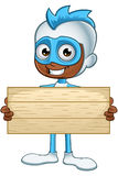 White And Blue Superhero - Holding Wooden Sign Royalty Free Stock Photos