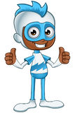 White And Blue Superhero - Two Thumbs Up Stock Photo