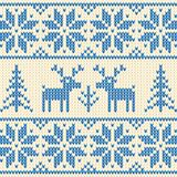 White and blue sweater with deer vector ornament Stock Images