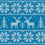 White and blue sweater with deer vector ornament Royalty Free Stock Photos